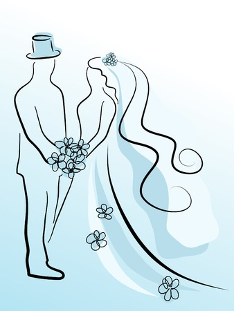 Silhouette of wedding couple in blue Vector
