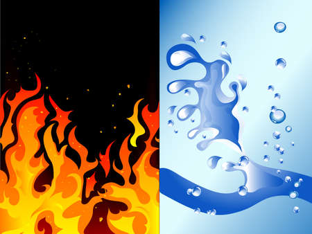 splash page: Fire and water - abstract vector illustration