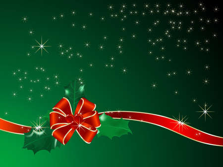 christmas holly: Red ribbon and bow - vector illustration Illustration