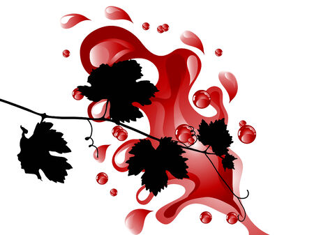 red grape: Red wine and leaves - vector illustration Illustration
