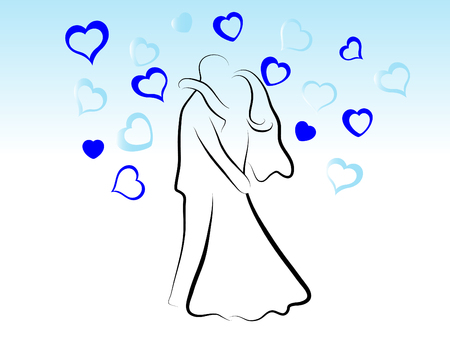 Kissing wedding couple - abstract silhouette Vector