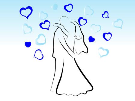 Besos de boda par - silueta abstracta