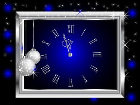 Silver New Year clock - illustration Stock Vector - 8132888