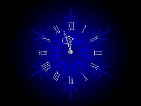 Silver New Year clock in snowflake Vector
