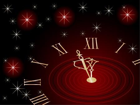 Red New Year clock - illustration illustration
