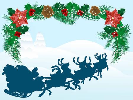 schneelandschaft: Abstract Winter Background with santa
