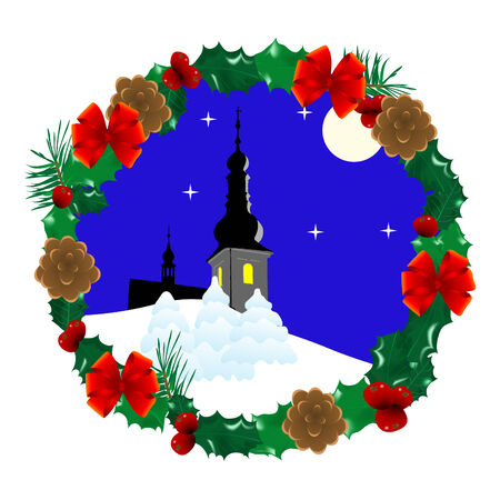 Christmas wreath with winter landscape inside Vector