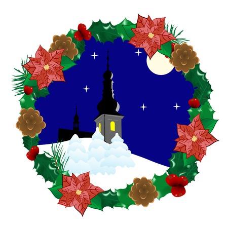 adventskranz: Christmas Wreath mit Winterlandschaft im Inneren