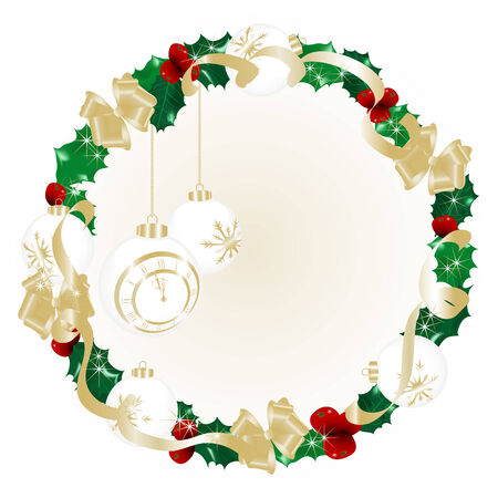 Christmas wreath with midnight clock inside Vector