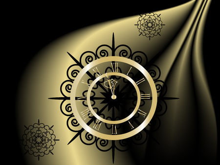 christmas time: Black and gold  New Year clock -  illustration Illustration