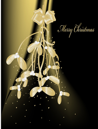 Christmas golden mistletoe -  illustration