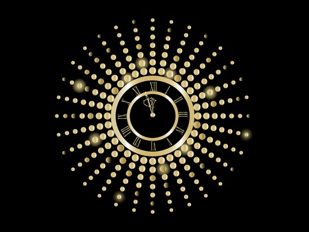 luminary: Black and gold  New Year clock -  illustration Illustration