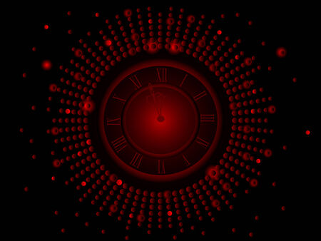 glittery: Black and red  New Year clock -  illustration