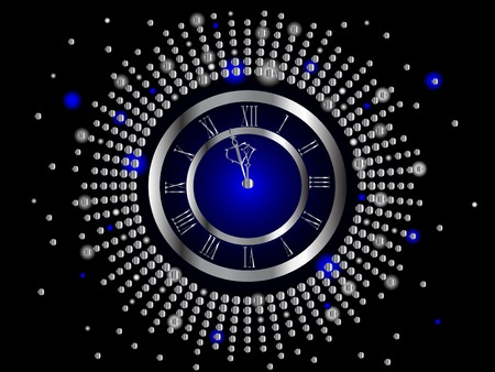 the blue hour: Silver  New Year clock -  illustration