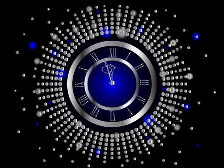 Silver  New Year clock -  illustration Stock Vector - 8148450