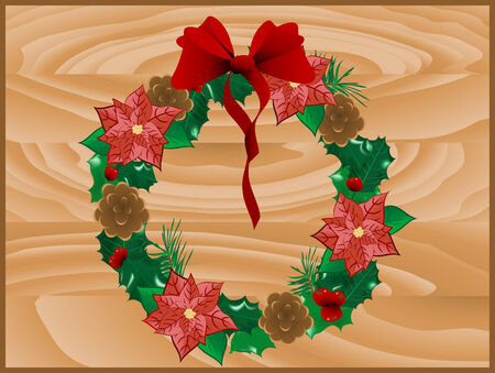 Christmas wreath on wooden board Stock Vector - 8148449
