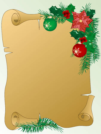 christmas scroll: Parchment with the christmas garland