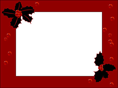 Red frame with black holly leaves and berries Vector