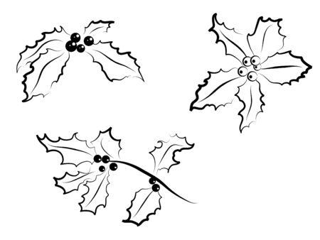 advent wreath: Christmas holly silhouettes -  illustration Illustration