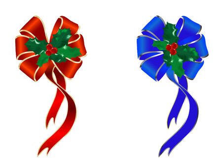 green bow: Two christmas bows with holly