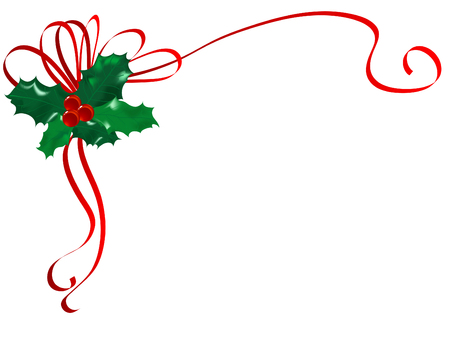 Christmas holly with red berries Vector