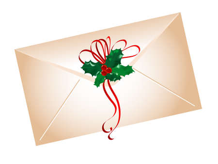 advent wreath: Envelope with holly leaves and berries