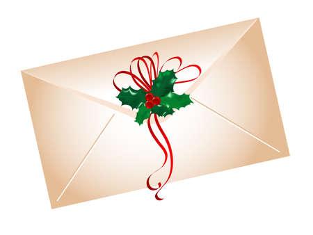 adventskranz: Umschlag mit stechpalme Bl�tter und Beeren