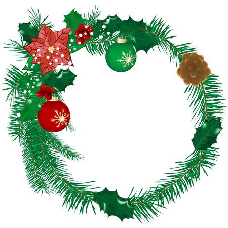 Christmas holly wreath  - vector illustration