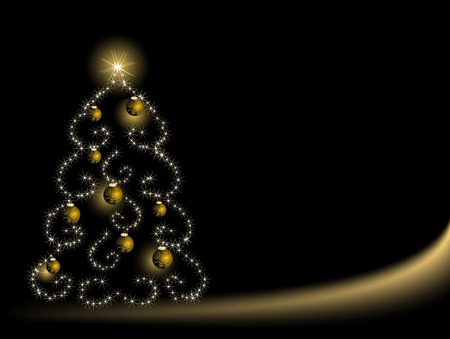 Abstract christmas tree with stars Illustration