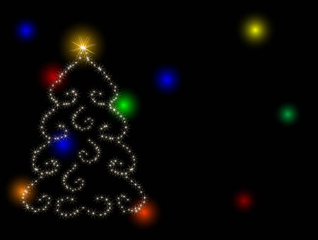 Abstract christmas tree with stars Vector