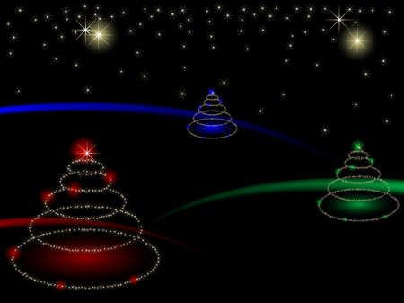christmas backgrounds: Abstract christmas trees with stars