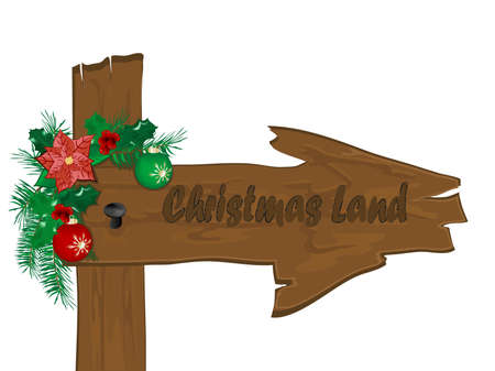 Wooden arrow with christmas garland Vector