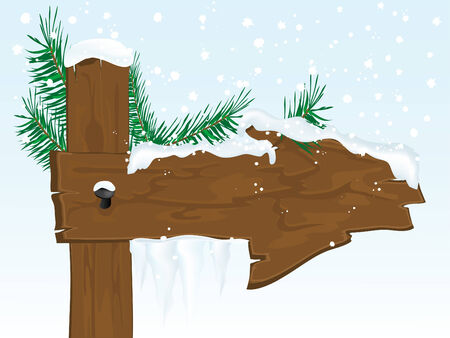 Snowy wooden arrow with icicles Vector