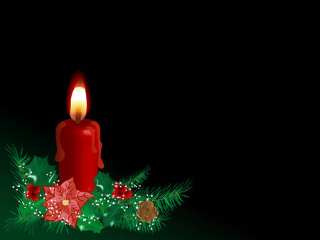 advent candles: Red Christmas candle with needles and berries