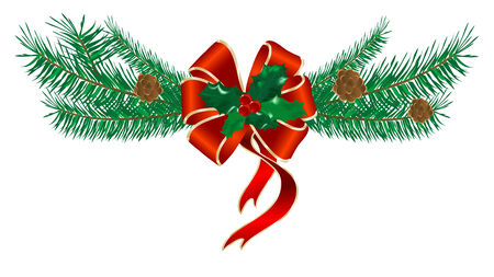 Red Christmas bow with needles Vector