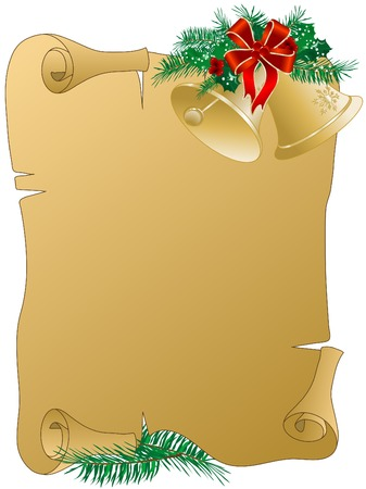 christmas garland: Parchment with the christmas garland