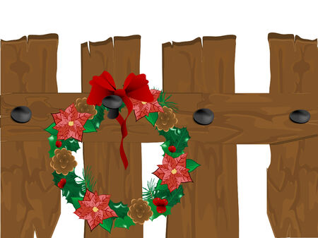 Christmas wreath on the wooden fence Vector