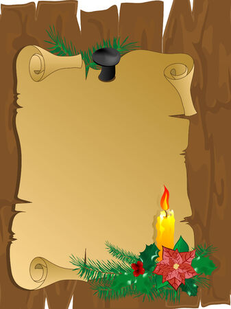 Christmas parchment on the wooden fence Vector