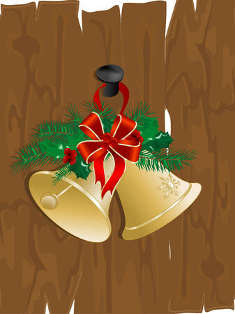 Christmas bells on the wooden fence Vector