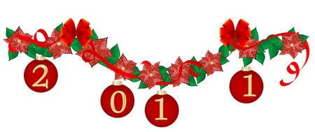 Christmas garland with red balls Stock Vector - 8346270