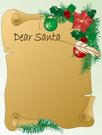 Christmas parchment letter for Santa Stock Vector - 8346269