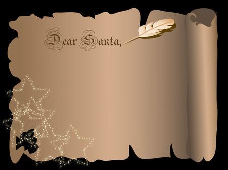 Christmas parchment letter for Santa Vector