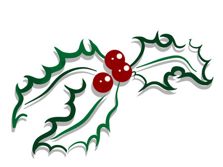 poinsettia: Christmas holly with red berries Illustration