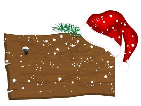 Snowy wooden billboard with Santa�s hat Vector
