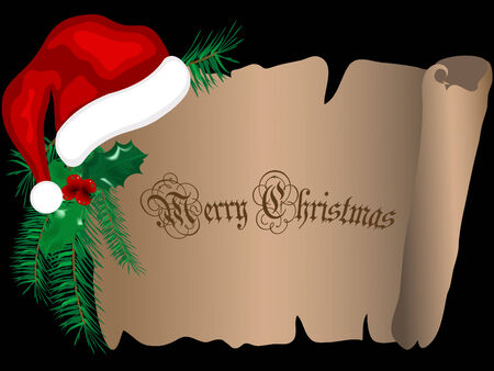 Christmas parchment with Santa�s hat Vector