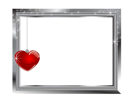 Silver frame with glass red heart