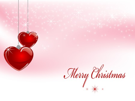 Christmas background with red glass hearts Vector