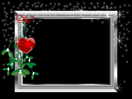 Silver frame and red glass heart Ilustracja