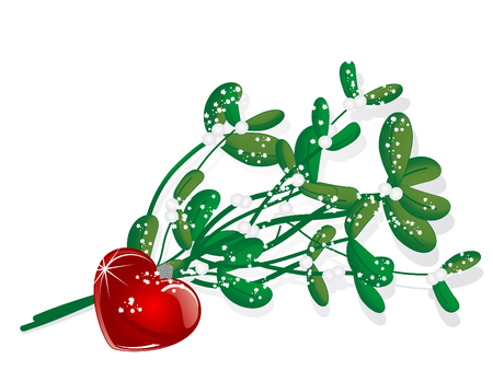 Snowy mistletoe and red glass heart Vector