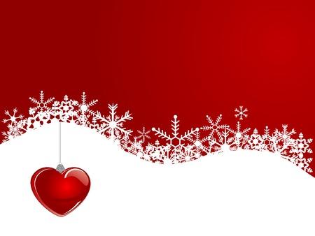 Christmas background with red glass heart